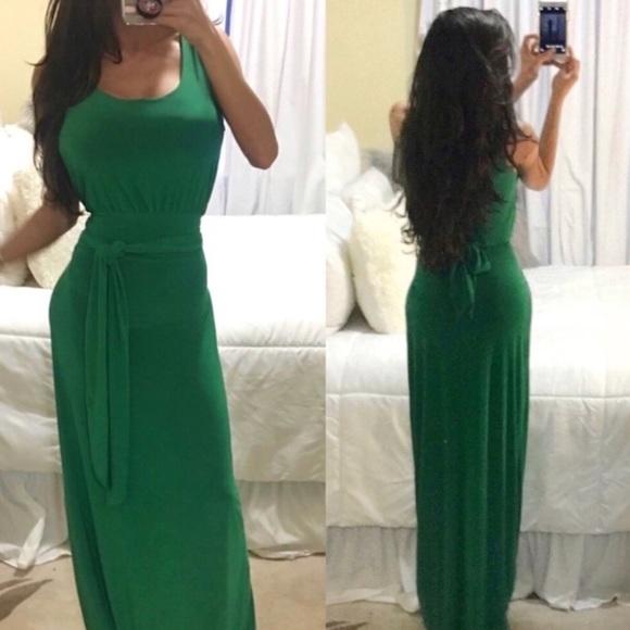 Bright Green tie wrap front tank maxi dress xs s 0